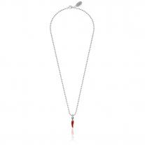 Collana Boule 45 cm con Charm Peperoncino Mini Portafortuna in Argento 925 e Smalto Rosso