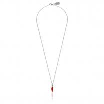Collana Rolò Micro 45 cm con Charm Peperoncino Mini Portafortuna in Argento 925 e Smalto Rosso