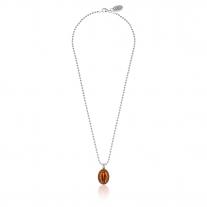 Collana Boule 45 cm con Charm Madonnina Miracolosa in Argento 925 e Smalto Arancione