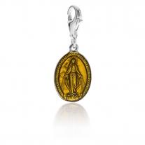 Charm Madonnina Miracolosa in Argento 925 e Smalto Giallo