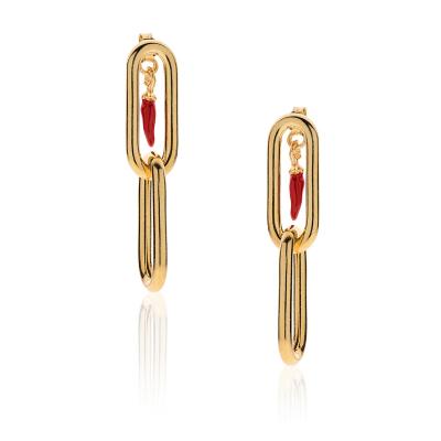 Orecchini Moschettone con Charm Peperoncino Mini Portafortuna in Argento 925 Dorato e Smalto Rosso