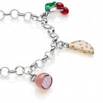 Rolo Light Bracelet with Emilia Romagna Charms in Sterling Silver and Enamel