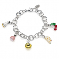 Rolo Luxury Bracelet with Emilia Romagna Charms in Sterling Silver and Enamel