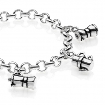 Rolo Premium Bracelet with Moka Charms in Sterling Silver