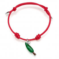 Cotton Cord Bracelet with Cypress Charm in Sterling Silver and Enamel