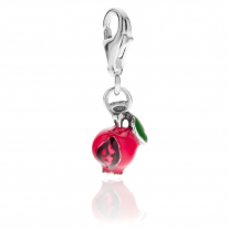 Pomegranate Charm in Sterling Silver and Enamel
