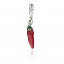 Chili Pepper Charm in Sterling Silver and Enamel