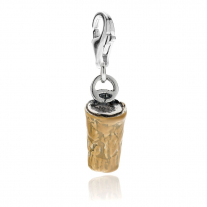 Cork Stopper Charm in Sterling Silver and Enamel