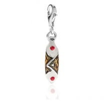 Sicilian Cannoli Charm in Sterling Silver and Enamel