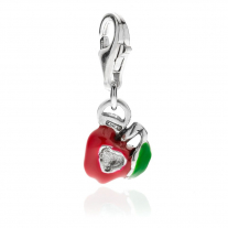 Apple Heart Charm - Sterling Silver and Enamel