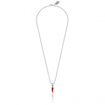 Necklace Boule 45 cm with Mini Chili Pepper Lucky Charm in Sterling Silver and Red Enamel