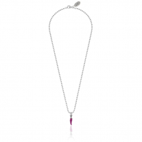 Necklace Boule 45 cm with Mini Chili Pepper Charm in Sterling Silver and Fuchsia Enamel