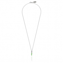 Micro Rolo Necklace 45 cm with Mini Chili Pepper Lucky Charm in Sterling Silver and Green Enamel