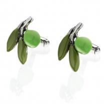 Olive Cufflinks in Sterling Silver & Enamel