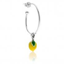 Large Hoop Single Earring with Lemon Charm in Sterling Silver and Enamel