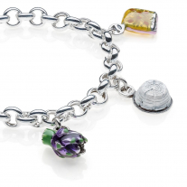 Rolo Premium Bracelet with Lazio Charms in Sterling Silver and Enamel