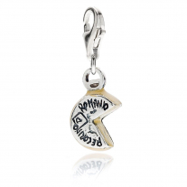 Pecorino Romano Cheese Charm in Sterling Silver and Enamel