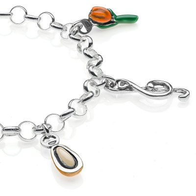 Rolo Light Bracelet with Liguria Charms in Sterling Silver and Enamel