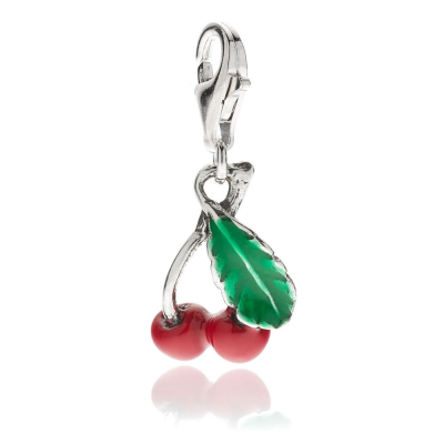 Cherry Charm in Sterling Silver and Enamel
