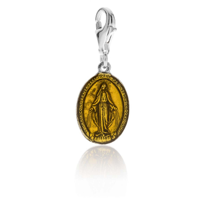 Madonna Charm in Silver and Yellow Enamel