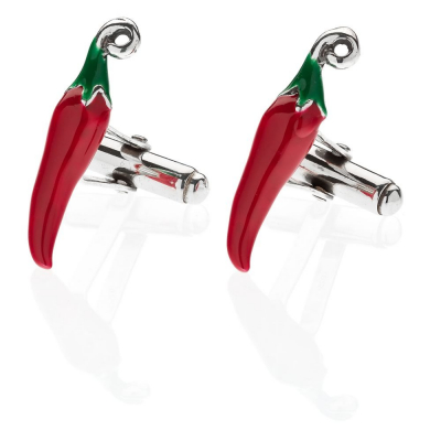 Chili Pepper Cufflinks in Sterling Silver and Enamel