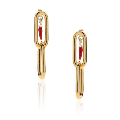 Carabiner Earrings with Mini Chili Pepper Charm in Golden Sterling Silver and Red Enamel