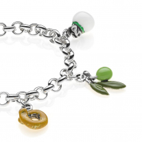 Rolo Premium Bracelet with Puglia Charms in Sterling Silver and Enamel