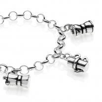 Rolo Light Bracelet with Moka Charms in Sterling Silver