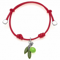Cotton Cord Bracelet with Olive Charm in Sterling Silver and Enamel