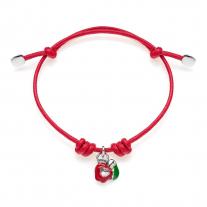 Apple Heart Bracelet Silver and Enamel