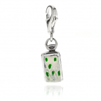Gorgonzola Cheese Charm in Sterling Silver and Enamel