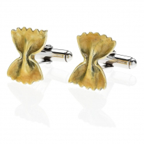 Bow Tie Pasta Cufflinks in Sterling Silver & Enamel