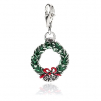 Laurel Wreath Charm in Sterlng Silver and Enamel