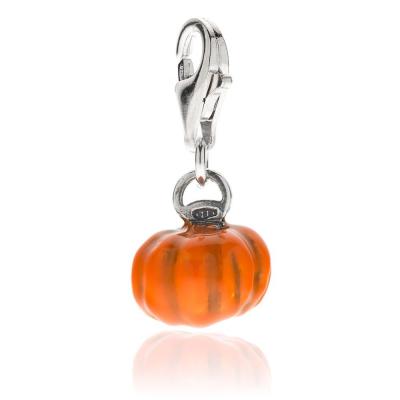 Pumpkin Charm in Sterling Silver and Enamel