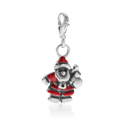 Santa Claus Charm in Sterling Silver and Enamel