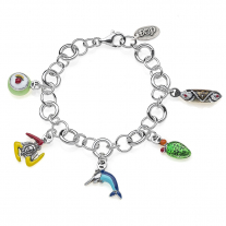 Rolo Luxury Bracelet with Sicilian Charms in Sterling Silver and Enamel