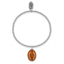 Elastic Boule Bracelet with Miraculous Madonna Charm in Sterling Silver and Orange Enamel