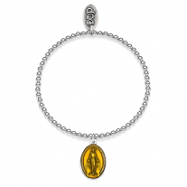 Elastic Boule Bracelet with Miraculous Madonna Charm in Sterling Silver and Yellow Enamel