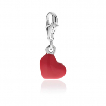 Heart Charm in Sterling Silver and Enamel