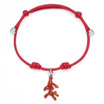 Red Coral Bracelet in Sterling Silver & Enamel