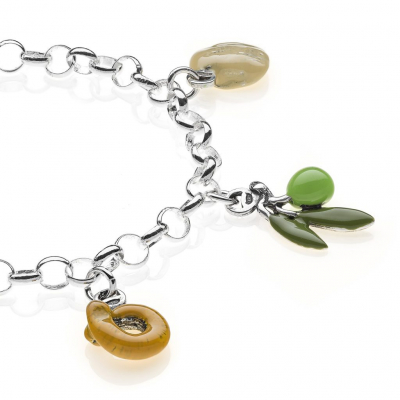 Rolo Light Bracelet with Puglia Charms in Sterling Silver and Enamel