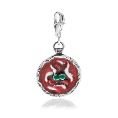 Mini Pizza Margherita Charm in Sterling Silver and Enamel