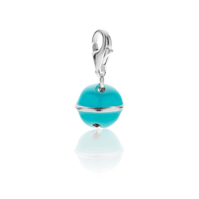 Bell Charm in Sterling Silver and Turquoise Enamel