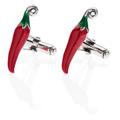 Chilli Pepper Cufflinks in Sterling Silver & Enamel