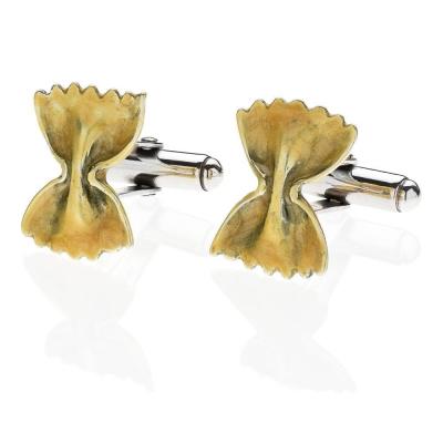 Bow Tie Pasta Cufflinks in Sterling Silver & Enamel
