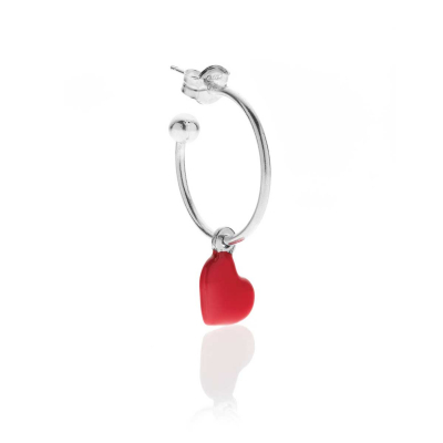 Single Earring with Heart Charm in Sterling Silver and Enamel