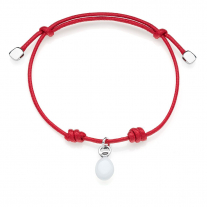 Cotton Cord Bracelet with Candy Charm in Sterling Silver and Enamel