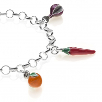 Rolo Light Bracelet with Calabria Charms in Sterling Silver and Enamel