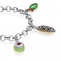 Rolo Premium Bracelet with Sicilian Charms in Sterling Silver and Enamel