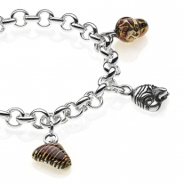 Rolo Premium Bracelet with Campania Charms in Sterling Silver and Enamel